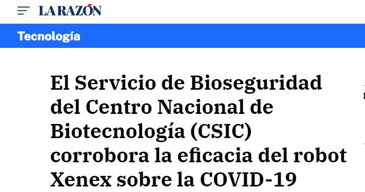 Xenex, la única tecnología de desinfección certificada por UV contra la Covid19, ratificada por el CSIC